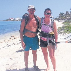 Wendy Morrill and her father, Richard Bailey, pose near Paa Mulin Mexico  in 2007. This was the year of their first 120-mile leg, which they did in eight days. This was after two years of much easier 20-mile hikes.