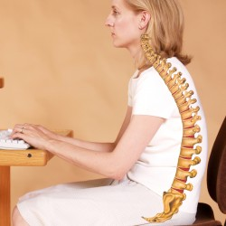 This woman sitting in a typical office chair is slouching, which results in grossly improper proper position of the spine.