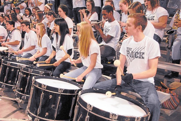 The drummers set a pounding rhythm as the Old Town High School band entertains the Coyotes' fans prior to the Feb. 19 Class B boys' semifinal played between Old Town and Ellsworth.