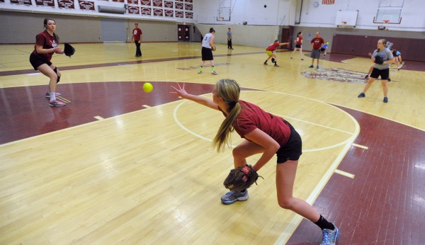 Bangor Rams softball players do drills during practice at Bangor High School Thursday afternoon.