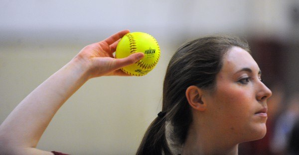 Bangor Rams softball player Cordelia Stewart pitches during practice at the Bangor High School Thursday afternoon.  Stewart returned to the game after knee surgery last year.