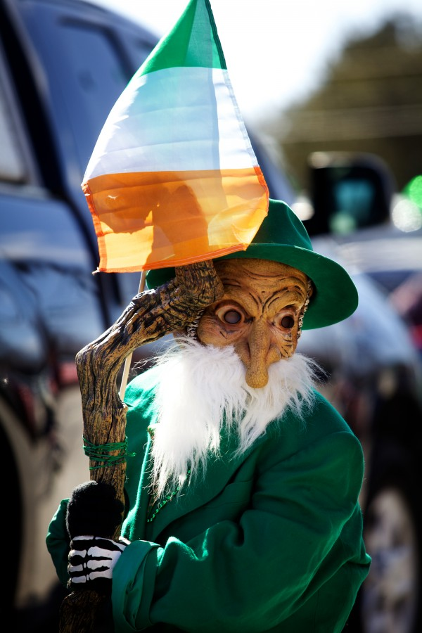 Shamus Colson, 7, gets ready to march in Portland's annual St. Patrick's Day parade on Sunday, dressed as a leprechaun. The yearly parade is sponsored by the Irish American Club of Maine.