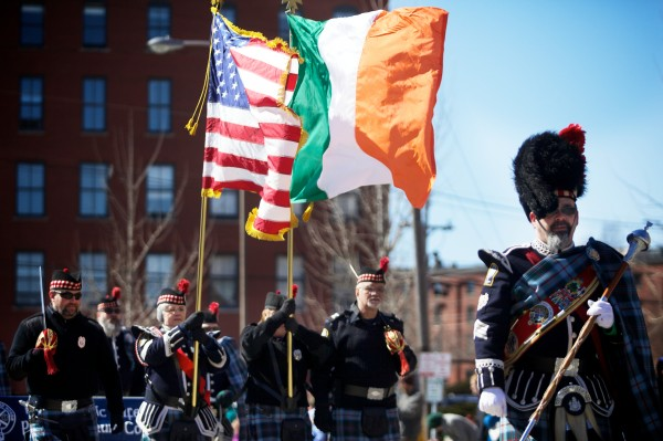 The Maine Public Safety Pipe and Drum Corps march down Commercial Street in Portland on Sunday in the annual St. Patrick's Day parade. The group was founded in 2004.