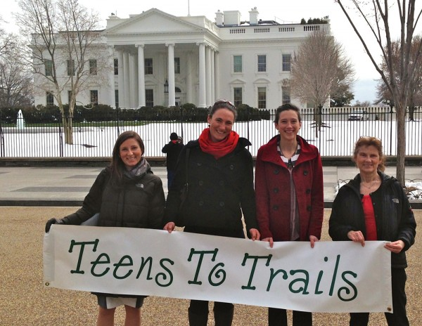 Statewide organization Teens To Trails staff travel to the Washington DC to be honored in White House Champions of Change ceremony on March 18th (left to right; Lindsay Leone, Jane Koopman, Mckenzie Smith, Carol Leone)