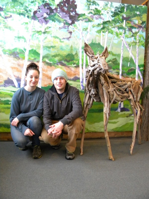 Arielle Cousens and Benjamin Stoodley, University of Maine seniors, pose with their Moose Calf which will be one of several pieces on exhibit at the upcoming show.