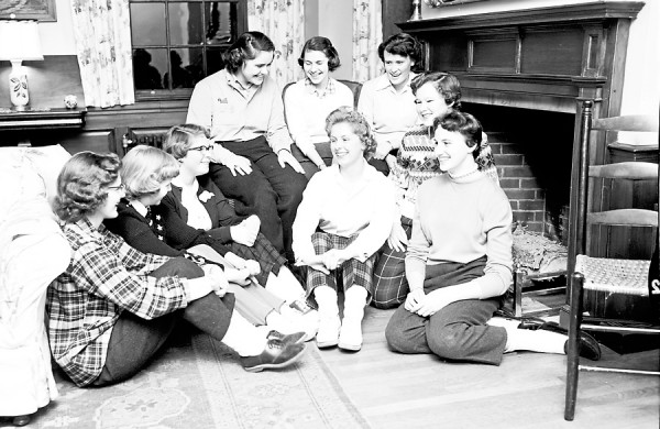 Forty Senior Girl Scouts had supper at the YWCA followed by a skating party at the New Auditoruim Saturday night, Jan. 14, 1956. Prominent in arranging the event were, left to right, front row, Sylvia Haliotis, Jane Goode, Sandra Peavey, Nancy Todtman, Lynne Footman, and Mary Jane Wiswell; back row, Maureen Perry, Meredith Winterbottom and Bettye Ware.