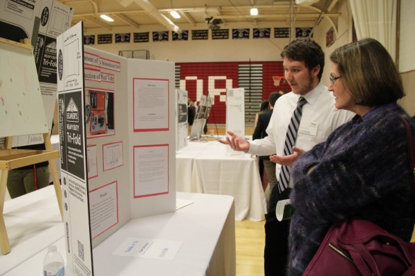 Tyler DeFroscia, a sophomore at Bangor High School, presented his research on a bio sensor that can detect red tide at the Maine State Science Fair.