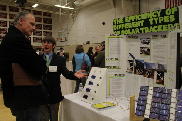 Kyle Hanson, a Greenley High School student, presented his project on solar panels at the Maine State Science Fair.