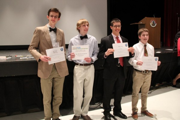 Roger Van Peski, Andrew Reilley, Demitri Maxim and Dan O'Brien, winners of the Maine State Science Fair.