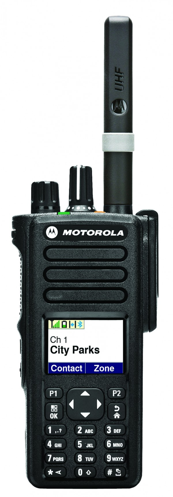 One of many MotoTRBO portable devices, Motorola's XPR 7000 Series delivers voice and data communication with integrated Bluetooth audio and data, GPS, and text messaging.
