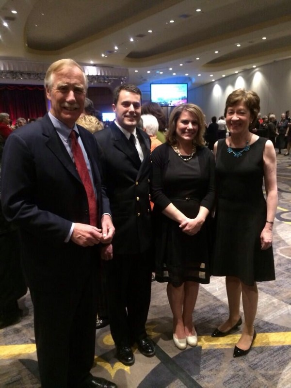 U.S. Sens. Angus King (far left) and Susan Collins (far right) attended the ceremony in which author, mother and military wife Sarah Smiley received the American Legion's Public Spirit Award. Sarah and her husband Lt. Cmdr. Dustin Smiley posed with the senators.