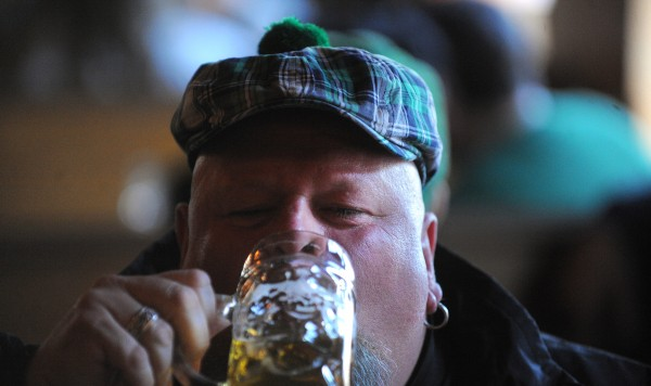 Stewart Crosby of Sullivan was among the people celebrating Saint Patrick's Day at Paddy Murphy's in Bangor Friday morning.  The Bangor-based band Bar Stuards started playing at 6 a.m. kicking off the all day live music at the pub.