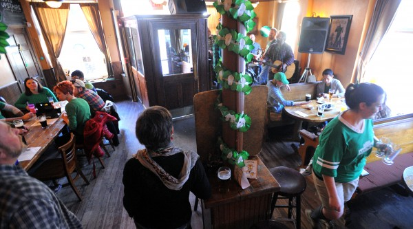 People celebrate Saint Patrick's Day at Paddy Murphy's in Bangor Friday morning.