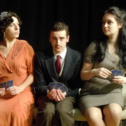 Kate Kirby, Tyler Costigan and Abby Roseberry in the Orono Community Theatre production of The Real Inspector Hound