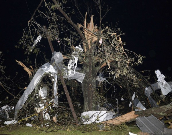 Debris hangs from a tree after a tornado hit the town of Mayflower, Arkansas around 7:30 p.m., April 27, 2014.