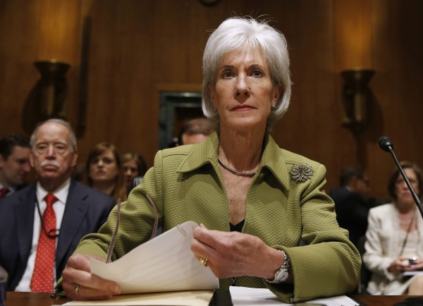 U.S. Secretary of Health and Human Services Kathleen Sebelius prepares prior to testifying before the Senate Finance Committee hearing on the President's budget proposal for FY2015, on Capitol Hill in Washington, April 10, 2014.