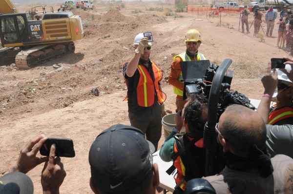 Workers show the media the first recovered &quotE.T. the Extra-Terrestrial&quot cartridge at the old Alamogordo landfill in Alamogordo, New Mexico, April 26, 2014.