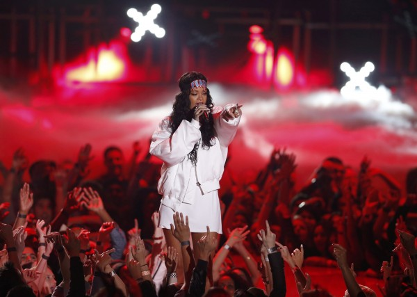 Rihanna performs on stage at the 2014 MTV Movie Awards in Los Angeles, California  April 13, 2014.