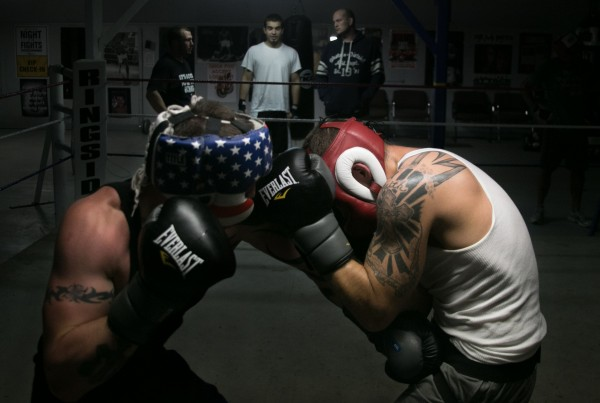 Brandon Berry (right) of West Forks spars with Phil Kyser of Stockton Springs during a training session at Wyman's Boxing Club on May 29, 2013.