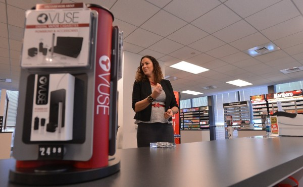 Stephanie Cordisco, president of R.J. Reynolds Vapor Co., explains how Reynolds is going to market their new electronic cigarette, the &quotVuse&quot in the company's Customer Engagement Center, in Winston-Salem, N.C., March 4, 2014.