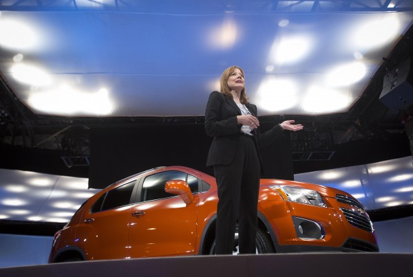 General Motors CEO Mary Barra appears onstage during a launch event for new Chevrolet cars before the New York Auto Show in New York April 15, 2014.