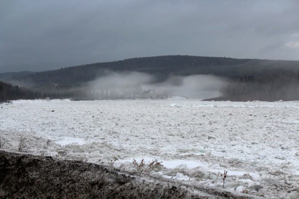 Ice jams in the St. John River near Allagash.