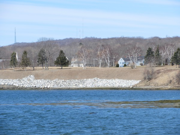 Some properties along Waldo Avenue in Rockland have placed rocks (riprap) along the shore to reduce erosion and reduce the possibility of another landslide. A major landslide occurred on Waldo Avenue in 1973 and the photo is taken from the location of the April 16, 1996, landslide that destroyed two homes.