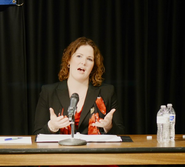 State Sen. Emily Cain, D-Orono, speaks during a forum with state Sen. Troy Jackson, D-Allagash, at USM's Lewiston-Auburn College on Thursday. The two are in a primary race to be their party's candidate to replace Maine's 2nd District U.S. Rep. Mike Michaud in the fall election. Cain and Jackson will square off in a June primary.