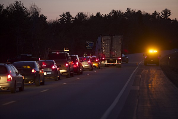 A two-vehicle collision in the southbound lane of Interstate 95 just past the Newburgh Road overpass prompted police to close the interstate and reroute vehicles at the Coldbrook Road exit in Hermon on Sunday evening.