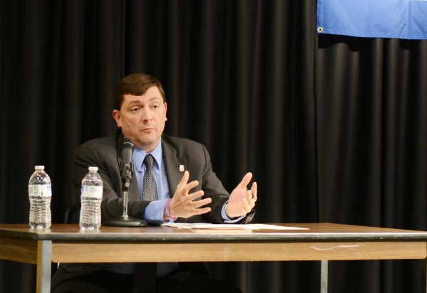 Maine state Sen. Troy Jackson, D-Allagash, gestures during a forum at the University of Southern Maine, Lewiston-Auburn College on Thursday night. Jackson is in a primary race against state Sen. Emily Cain, D-Orono. The two state lawmakers are vying to be their party's candidate in the race for Maine's 2nd District congressional seat, which is vacant this year, as incumbent Mike Michaud runs for governor.