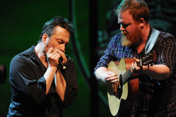 Matt Young (left) and Griffin Sherry, members of the holler folk band Ghost of Paul Revere, perform on stage at the Gracie Theater on the Husson University campus during the Acoustic Showcase for the Multiple Sclerosis Society on Friday.