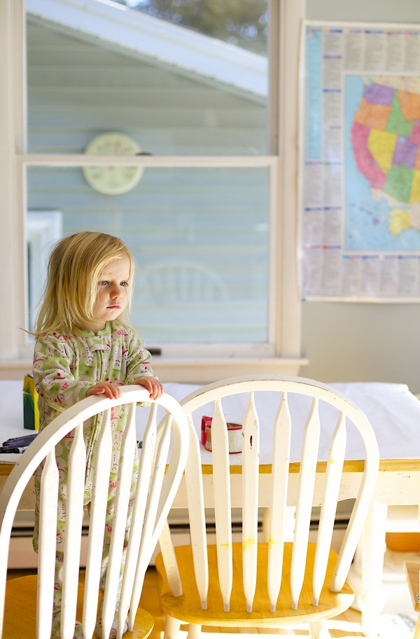 Jordan Gerbi, 2, stands in the Gerbi's dining room at their home in Orono on Tuesday.