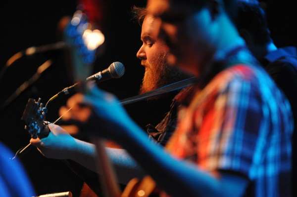 Griffin Sherry (left) and Sean McCarthy, members of the holler folk band Ghost of Paul Revere, perform on stage at the Gracie Theater on the Husson University campus during the Acoustic Showcase for the Multiple Sclerosis Society on Friday.