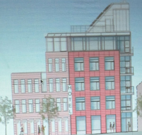 This is the Main Street view of the proposed five-story hotel at 250 Main St. in Rockland.