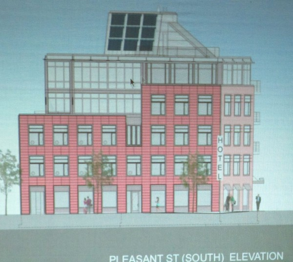 This is the Pleasant Street view of a proposed five-story hotel to be built at 250 Main St. in Rockland.
