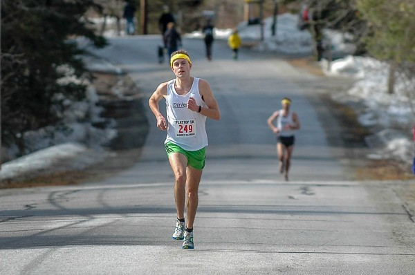 Caribou native Spencer McElwain competes in the Flat Top 5K in Lamoine on March 29. McElwain will compete in the Boston Marathon on Monday.