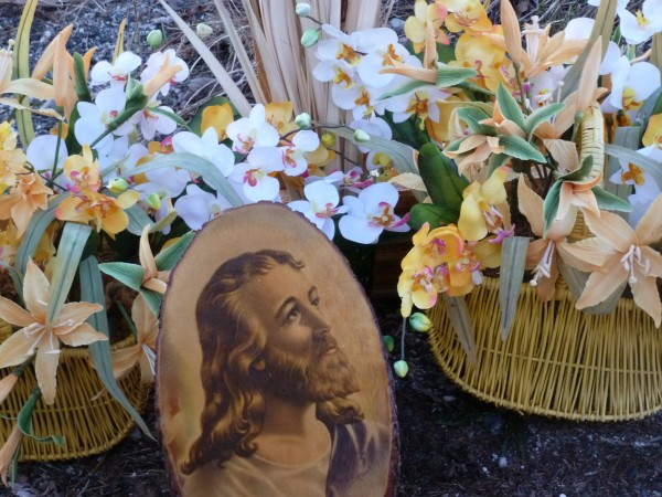 A portrait of Jesus was nestled outside the East Bucksport United Methodist Church with flowers from the altar for Sunday's sunrise service.