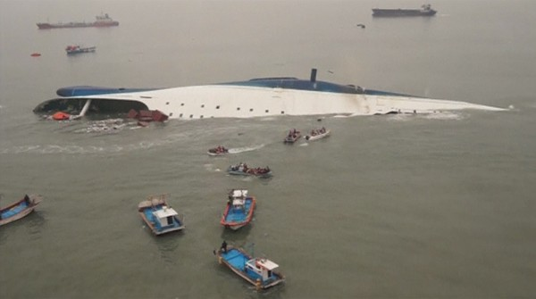 A partially sunken ferry is seen off South Korea's southwest coast in this still image from a video released by the South Korean coast guard April 16, 2014.