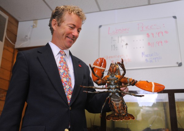 U.S. Sen. Rand Paul, R-Ky., holds a lobster at McLaughlin's Seafood and Takeout in Bangor on Saturday.  Paul came to Bangor to speak on the second day of the 2014 Maine Republican Convention at the Cross Insurance Center in Bangor.