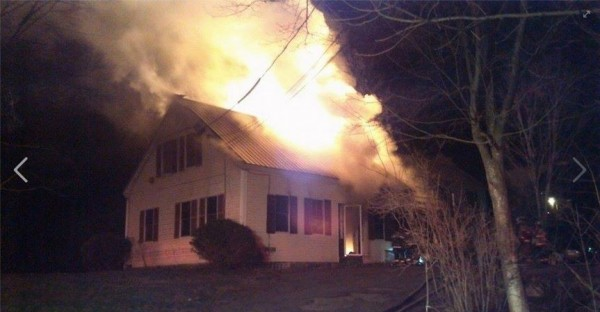 A fire Tuesday night burned a home on Gardiner Road in Wiscasset.