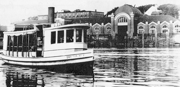 The Bon Ton Ferry with the Eastern Steamship Co.' terminal in the background.