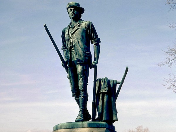 &quotThe Minute Man&quot statue by Daniel Chester French in Concord, Mass., which depicts Isaac Davis, a gunsmith and militia officer who commanded a company of Minutemen from Acton, Mass., during the first battle of the American Revolutionary War.