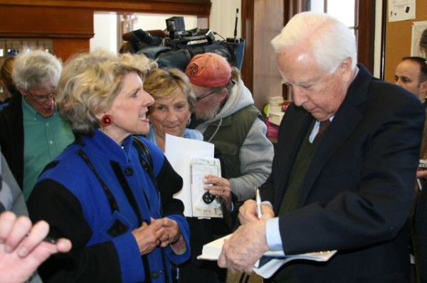 Historian David McCullough of Camden signs a copy of one of his books at the Camden Post Office in 2008.