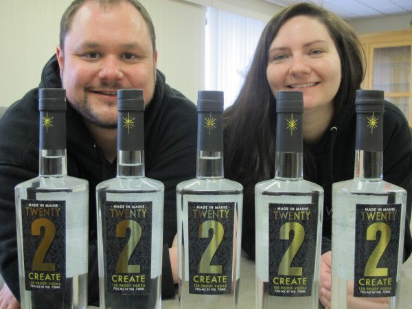 Scott Galbiati and Jessica Jewell of Twenty2 Vodka, based in Brewer.