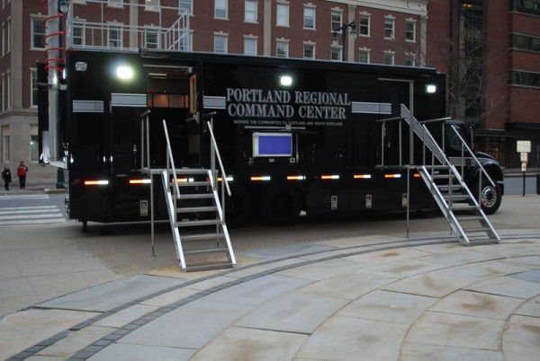 A new mobile command unit to be used by Portland and South Portland police and fire departments sits outside Portland City Hall on Monday. The unit doubles as a conference and communications center.