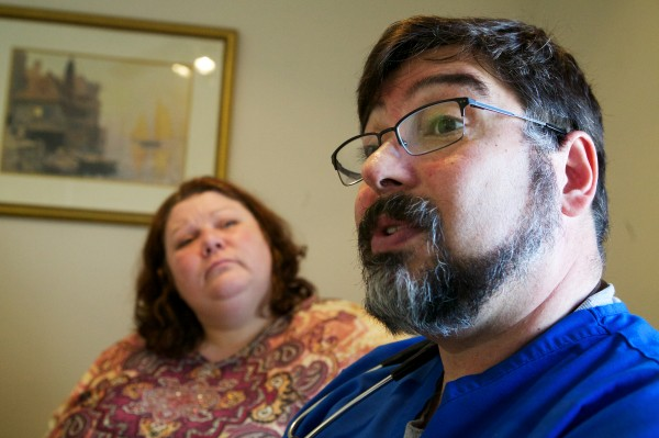 On April 4, South Portland doctor Michael Ciampi, who does not accept insurance or medicaid, explains how his subscription care service works out to about $50 per month for patients like Roxanne Pettigrow (left).