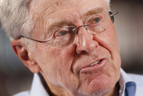 Charles Koch, 76, speaks during an interview, May 22, 2012, in his office at Koch Industries in Wichita, Kansas, where Koch Industries manages 60,000 employees in 60 countries.
