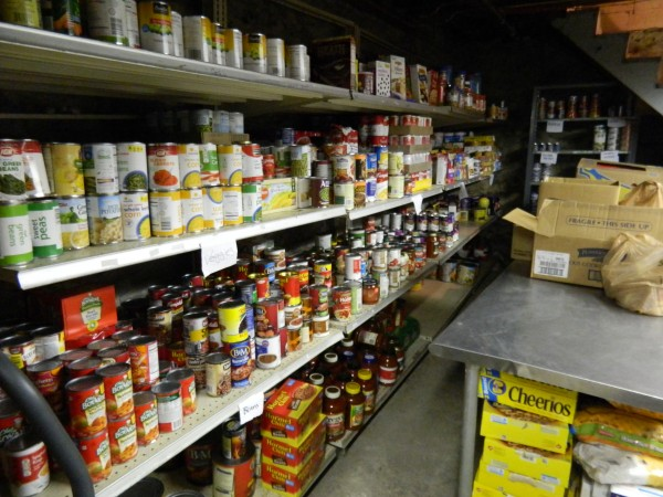 Food pantry shelves are fully stocked in the basement of Bangor Area Homeless Shelter on Monday, April 21. The shelter announced just before the weekend in that it was running low on food and community members turned out in large numbers, filling the shelves within 48 hours.