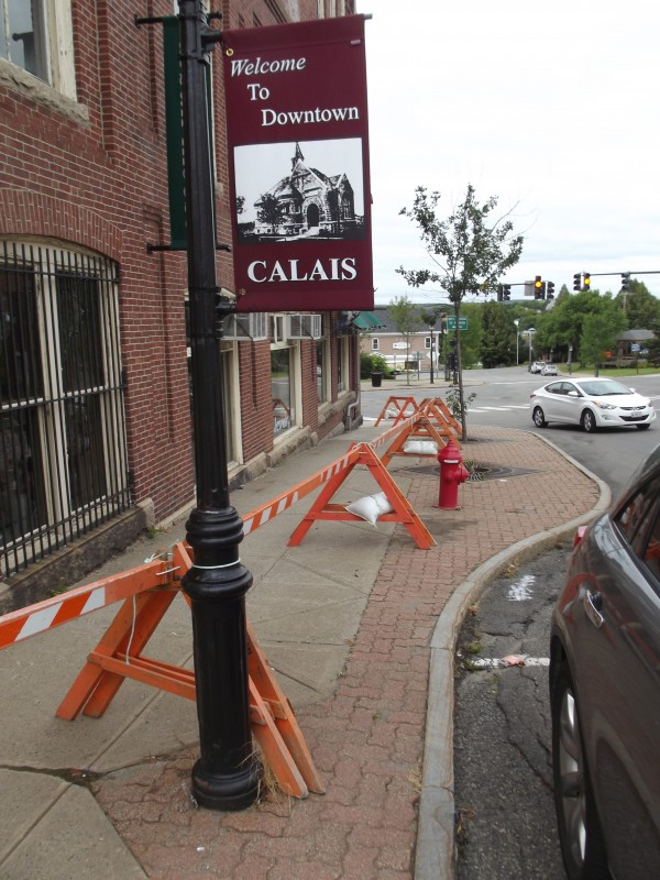 The sidewalk along North Street in Calais was blocked off next to this building because bricks came loose near the top of the three-story structure and fell onto the sidewalk.