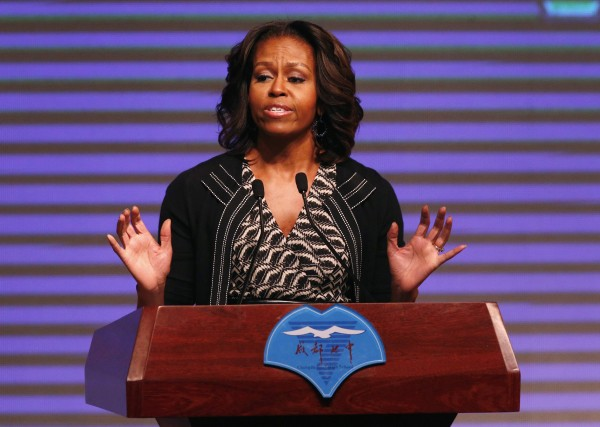 U.S. first lady Michelle Obama delivers a speech at School NO.7 during her visit in Chengdu, Sichuan province on March 25.